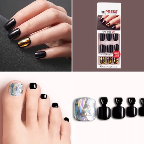 kiss impress Other | Finger Dashing Diva Toe Nails Black | Poshmark